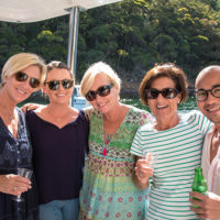 Wendy-Phillips-(second-from-right)-was-thrilled.-Bugs-and-bubbles-on-the-flybridge.