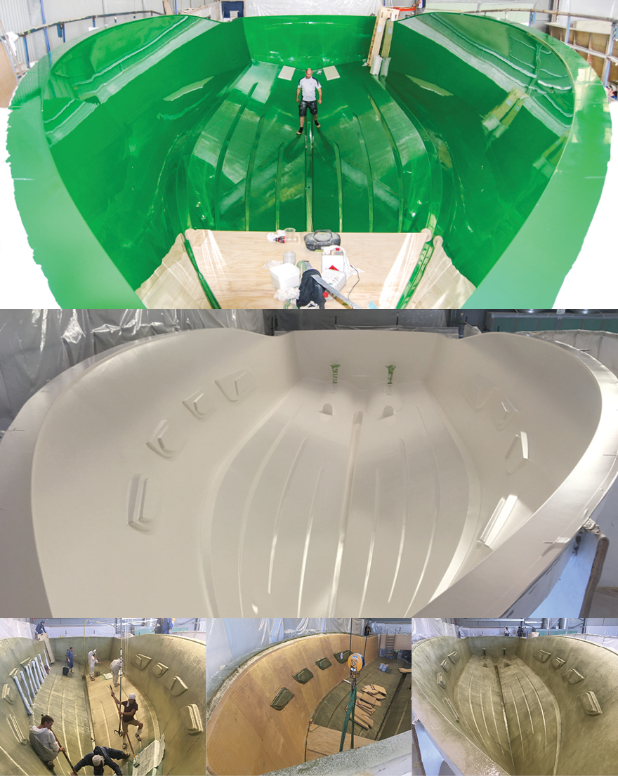 The hull's impressive mould was finished with a green tooling gel before the first layer of gelcoat was applied. Then, our team hand-lays matting to begin the lamination process.