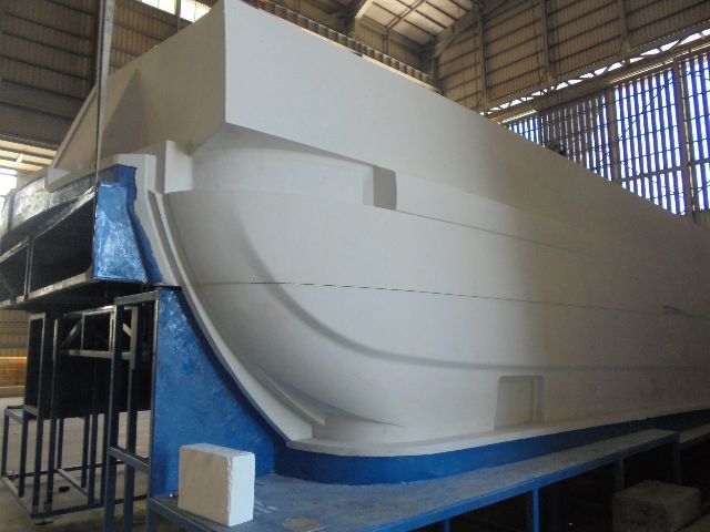 The complex aft quarter section of the hull plug.
