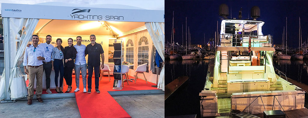 Left: The Yachting Spain team proudly represented Riviera at the Barcelona International Boat Show. Right: The Riviera 68 Sports Motor Yacht was a star attraction at the Barcelona International Boat Show.