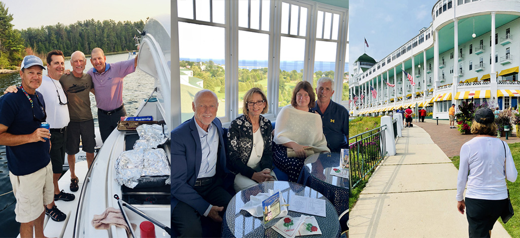 Left: Barbecue on board. Centre: Enjoying the view from the Cupola, a rooftop bar at the Grand Hotel. Right: Visiting the Grand Hotel on Mackinac Island.