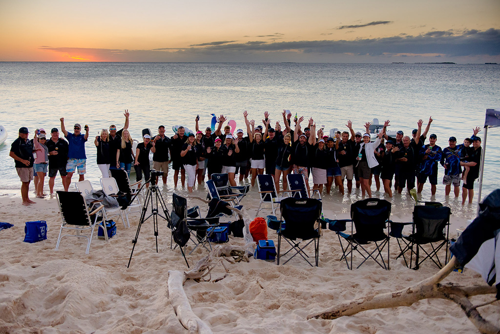 A group photo after the charity auction on Lady Musgrave Island.