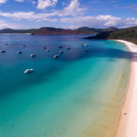 Anchored at Whitehaven Beach in the Whitsundays.