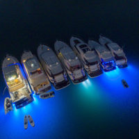 Underwater lights create a special effect in the Cid Harbour raft-up.