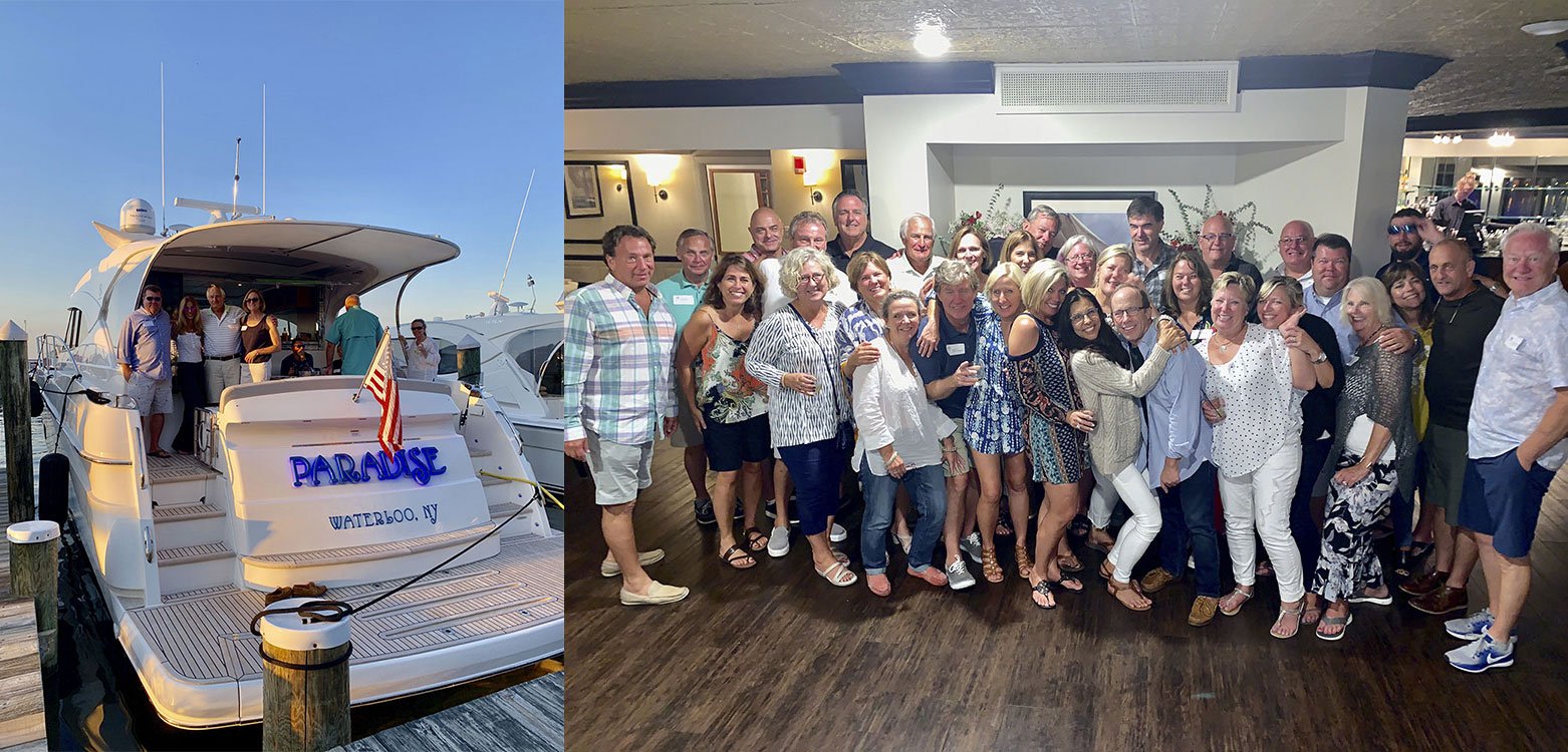 Left: Partying on board - the name says it all. Right: Loving a special weekend - the Grand Yacht International revellers.