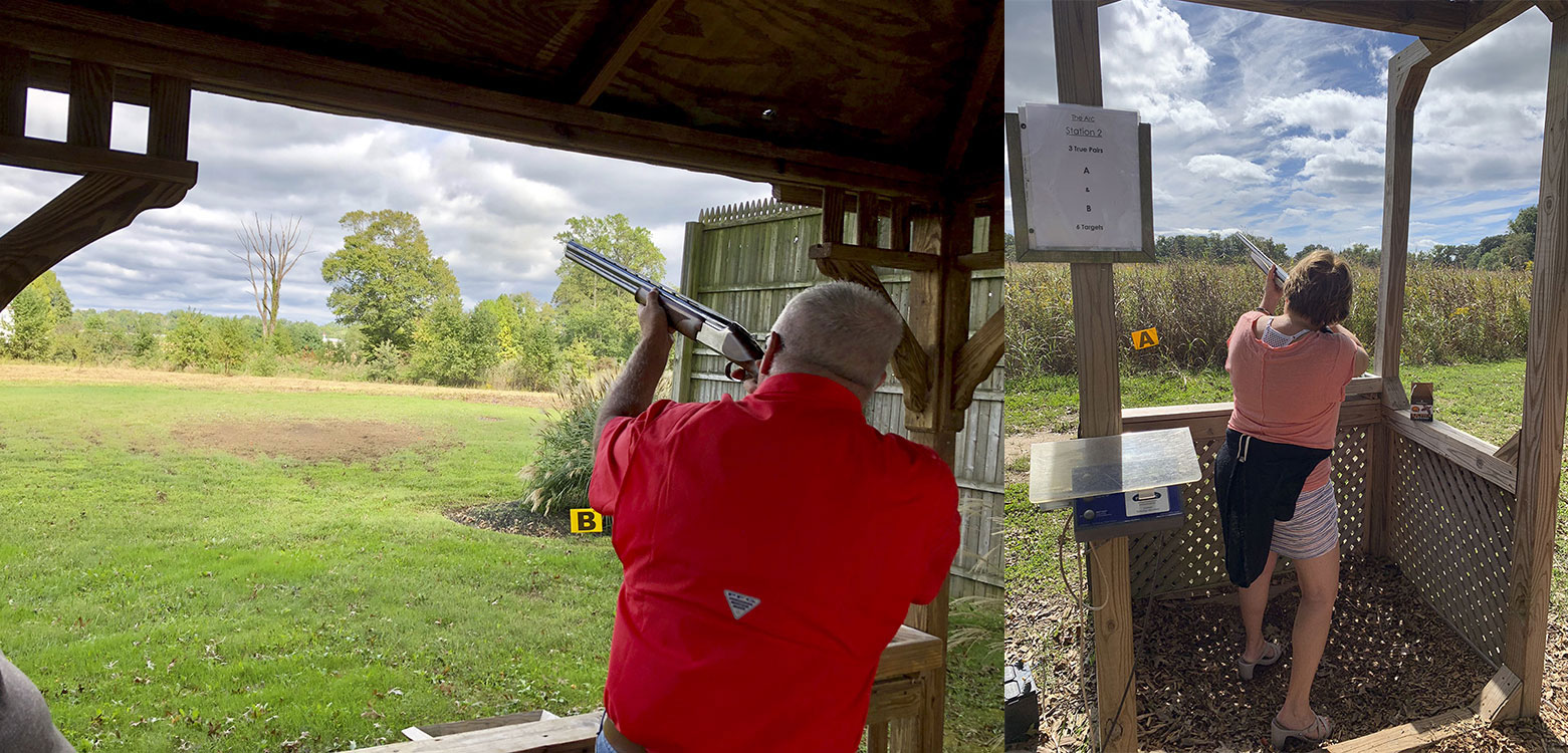 Left: Taking aim at some fun. Right: Skeet shooting at the Pintail Point resort.