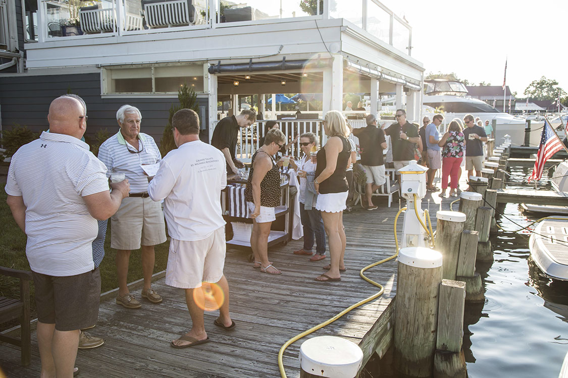 Drinks on the dock on Saturday evening.