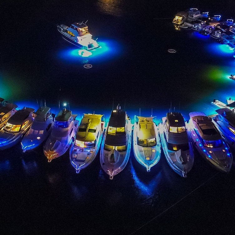 Lasers light up the night sky on the Gold Coast for R Marine Jones raft-up