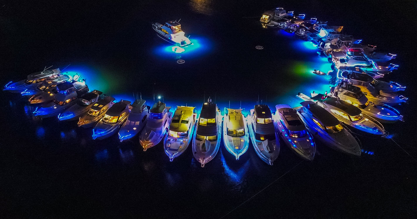 Lasers light up the night sky for R Marine Jones mega-raft-up