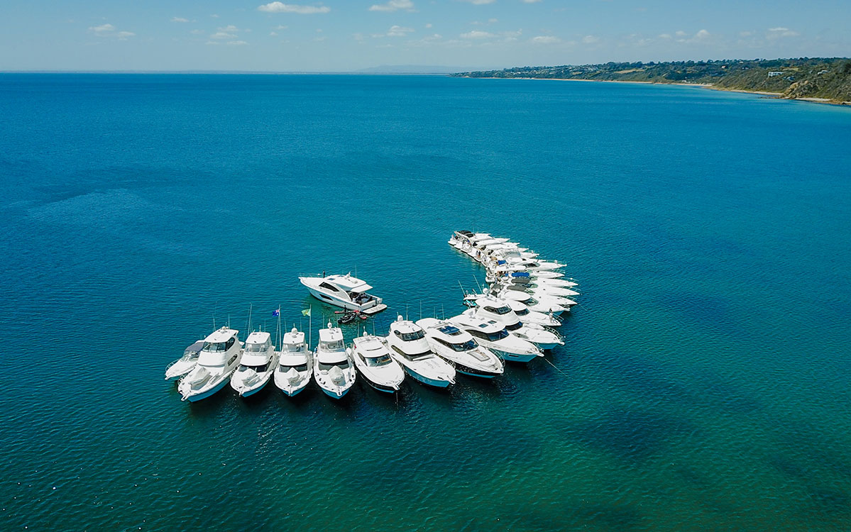 Riviera Family meet for R Marine Jacksons Mornington raft-up on Port Phillip Bay
