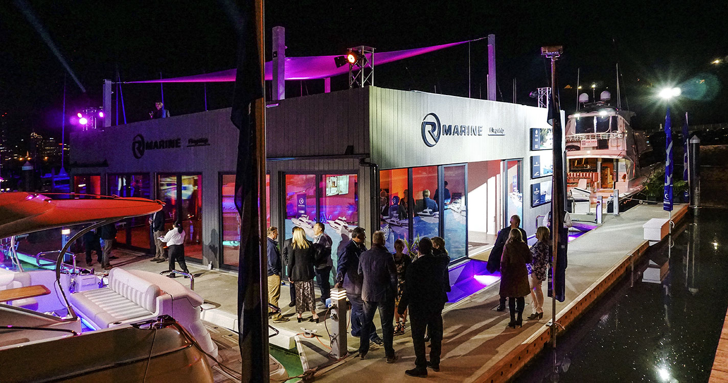 new R Marine Flagship floating office in Auckland