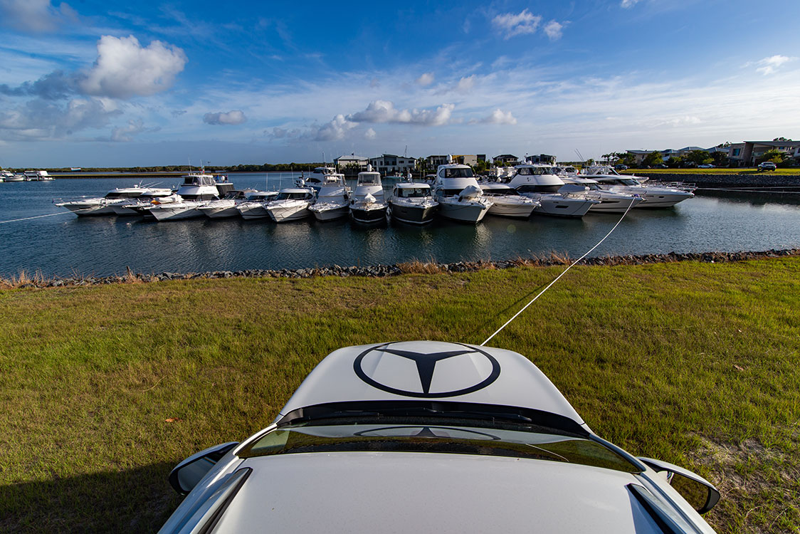 """Mercedes utes acted as """"anchors"""" for the raft-up."""