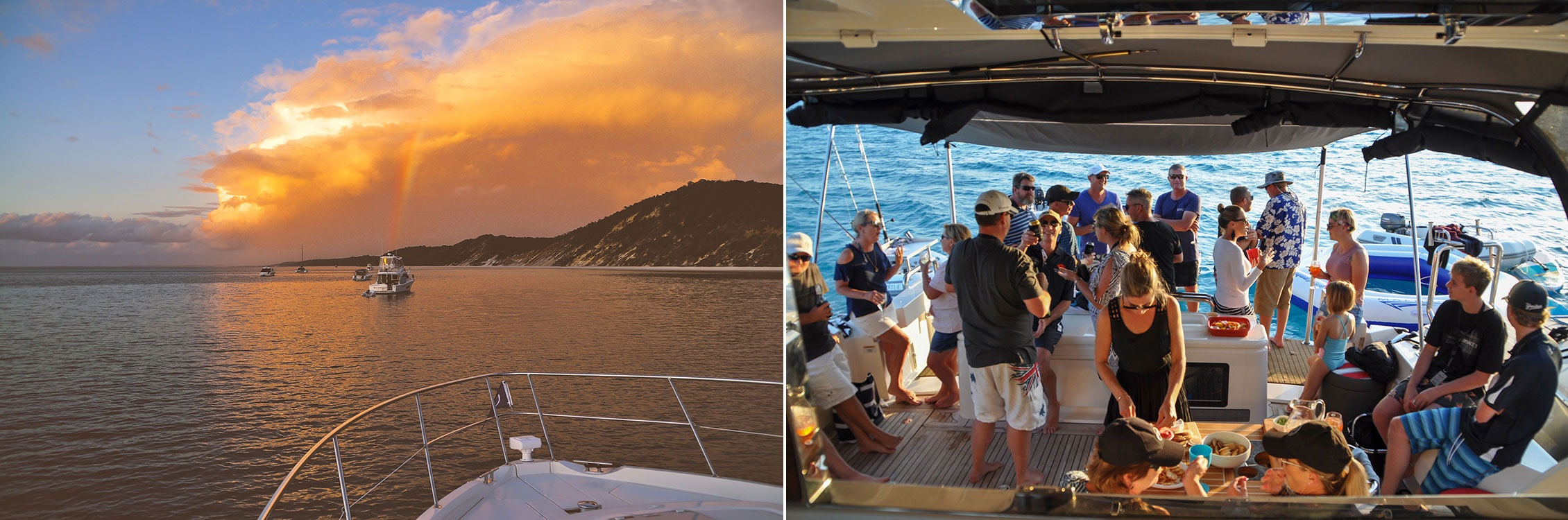Left: Dramatic skies over the flotilla. Right: Enjoying the camaraderie during the raft-up party.