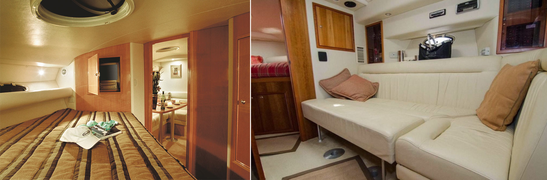Left: The stateroom. Right: The saloon lounge folds out to a second bed.