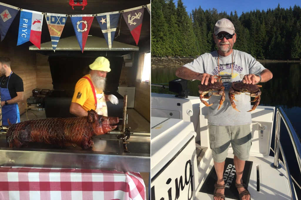 Left: Pierre's pig roast at Echo Bay. Right: Sandy with a great catch of crabs.