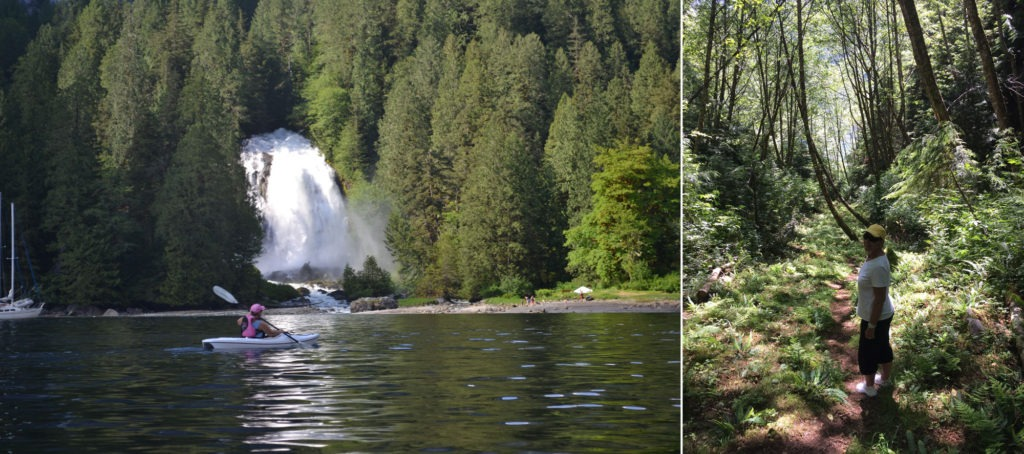 Left: Spectacular Chatterbox Falls at Princess Loouisa Inlet. Right: Bushwalking.