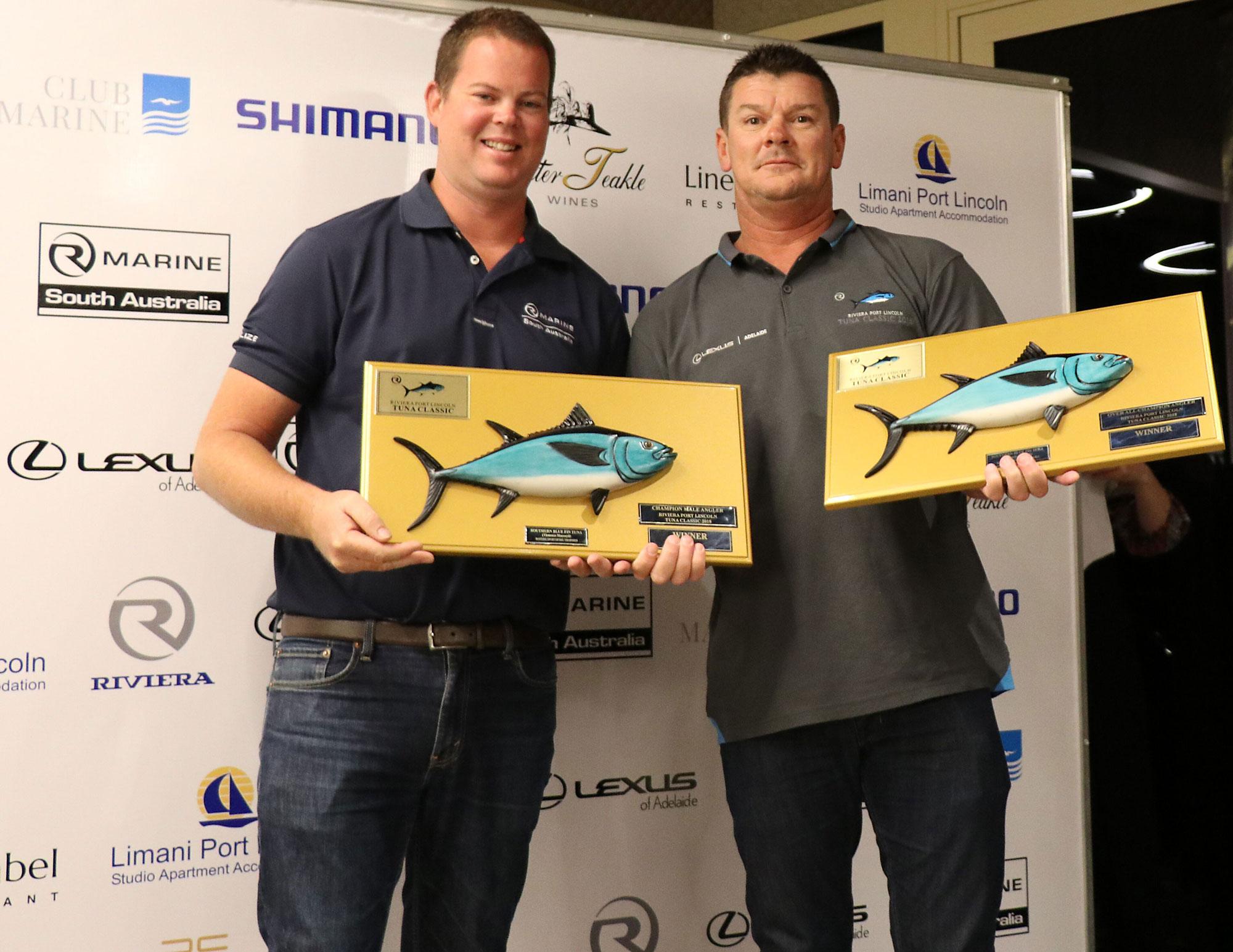 R Marine SA's Daniel Westbury presents the 2018 Champion Angler award to Jeremy Cooper.