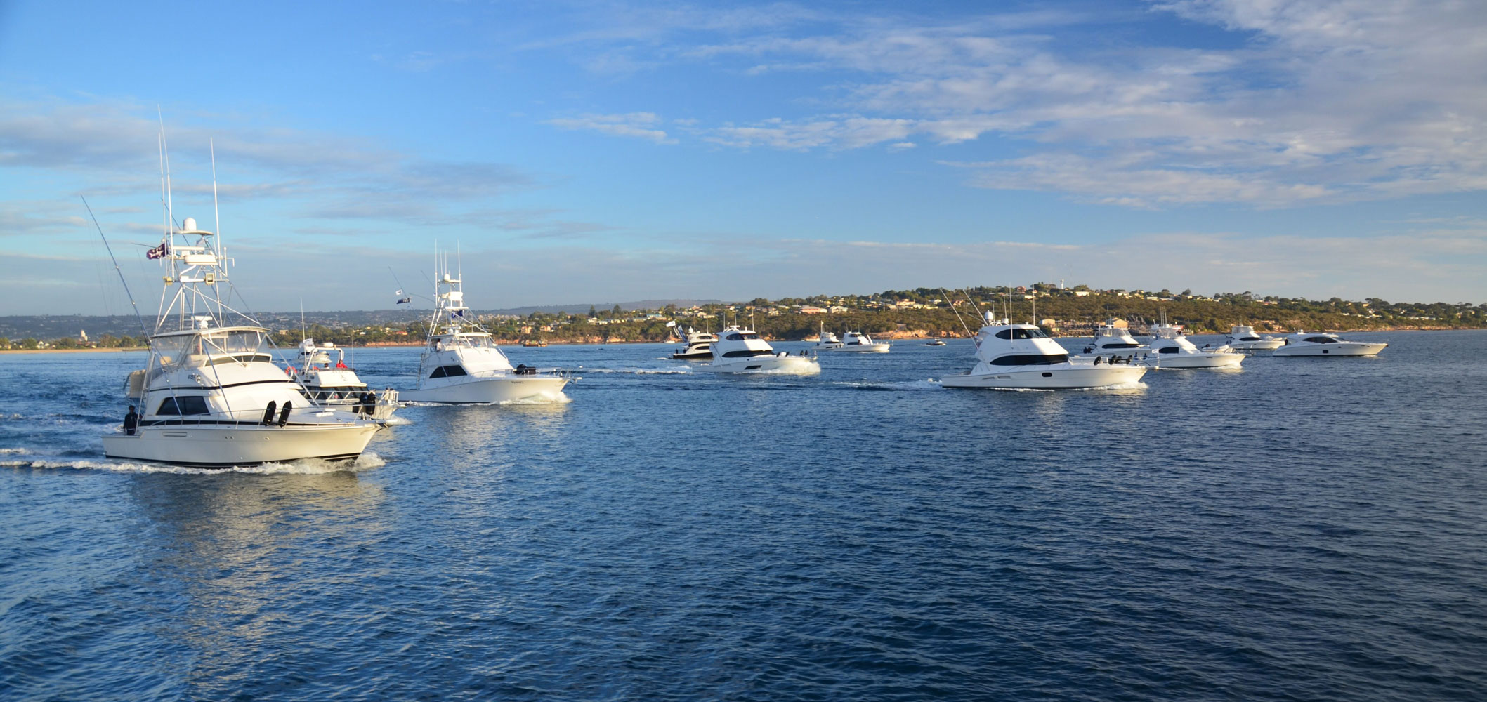 Ready to fish - the line-up of competing boats in the 2018 Riviera Port Lincoln Tuna Classic get set for the starter's horn and the spring to Memory Cove