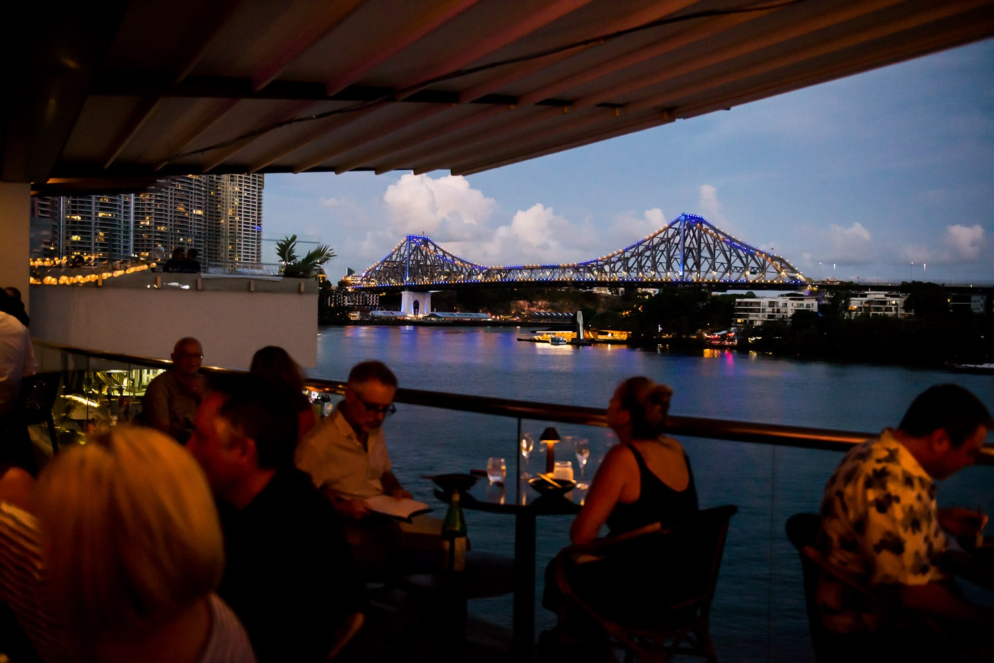 Drinks at sunset looking toward the Story Bridge.