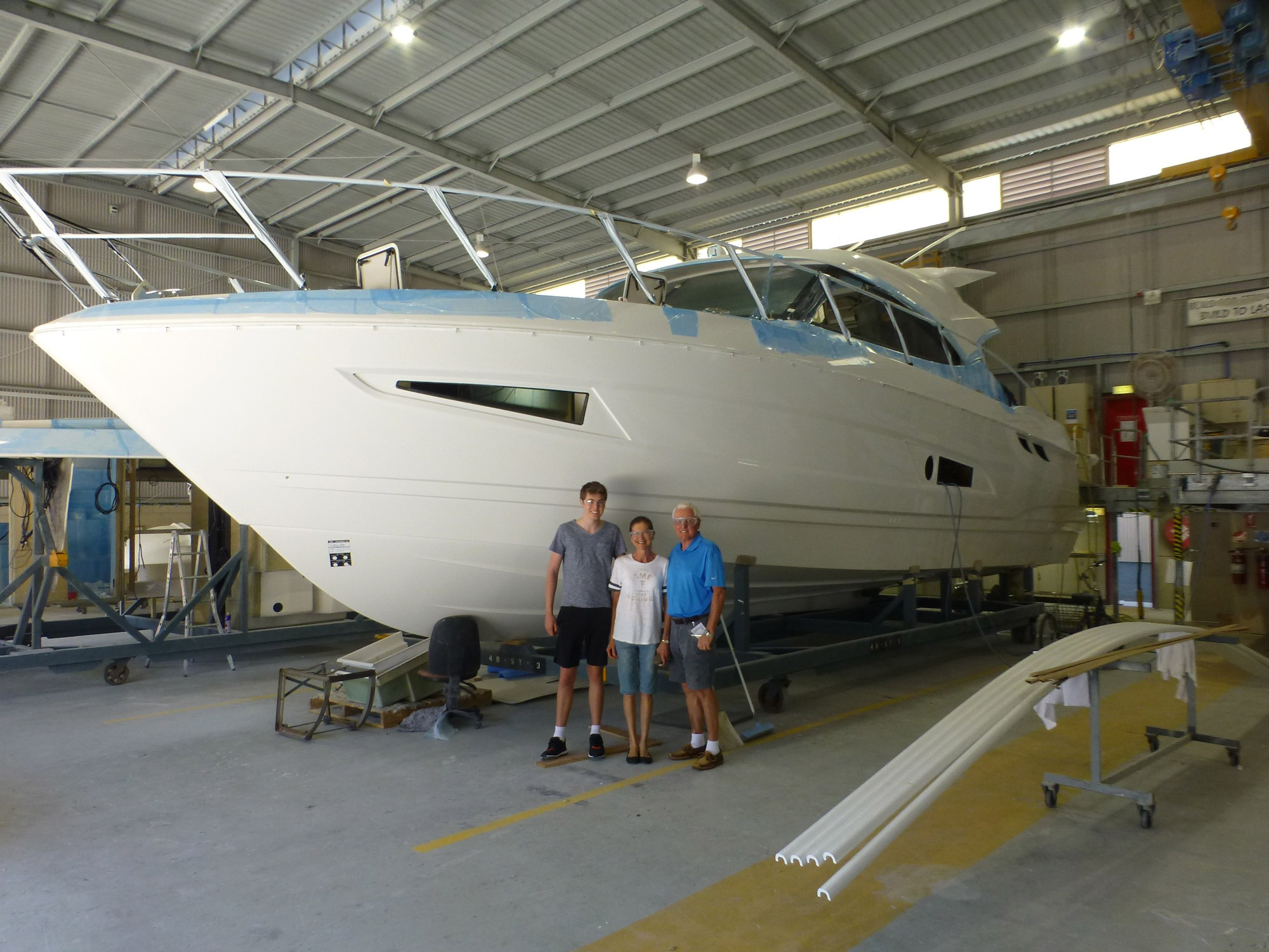 Inspecting Knight Vision during her build at the Riviera facility in Coomera.
